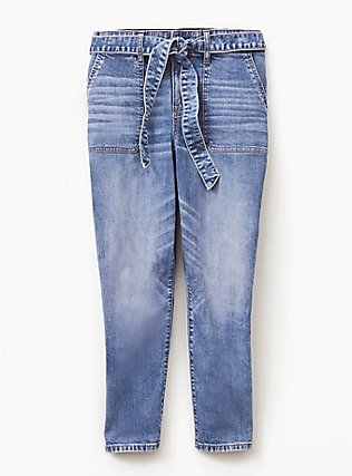 Mid Rise Straight Jean- Vintage Stretch Light Wash with Sash, SLOW MOTION, flat