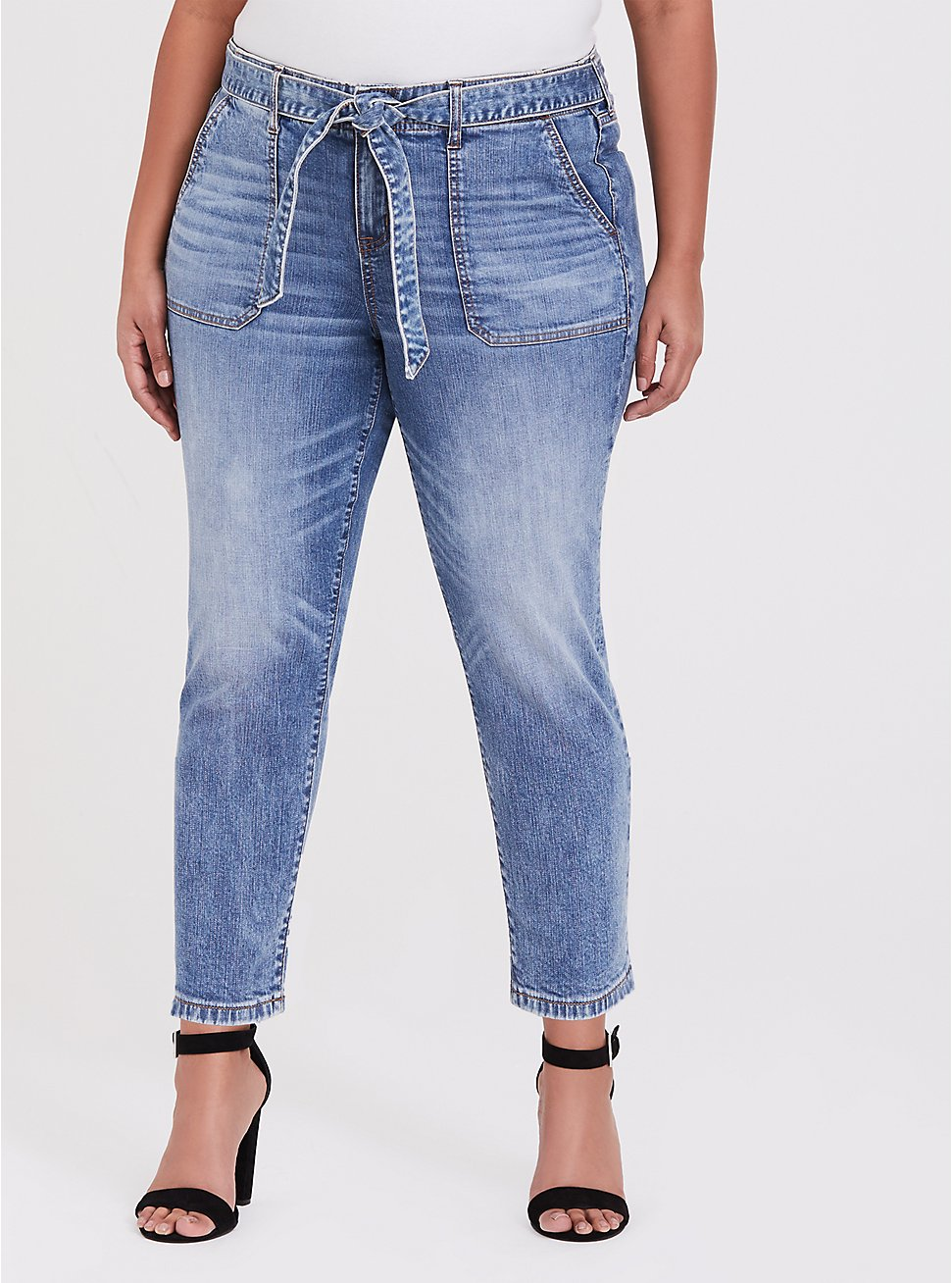 Mid Rise Straight Jean- Vintage Stretch Light Wash with Sash, , hi-res