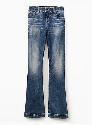 Flare Jean - Super Soft Medium Wash, BLUE PLANET, flat