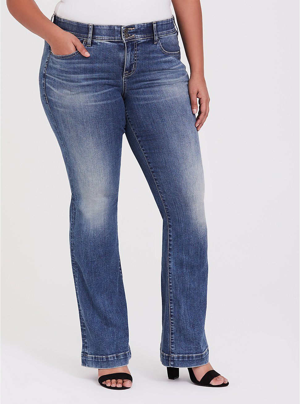 Flare Jean - Super Soft Medium Wash, BLUE PLANET, hi-res