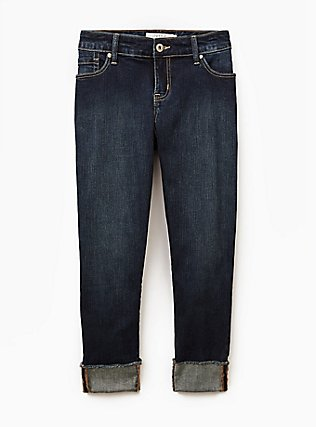 Plus Size Crop Boyfriend Jean - Vintage Stretch Dark Wash, ACE, flat