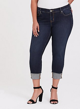 Plus Size Crop Boyfriend Jean - Vintage Stretch Dark Wash, ACE, hi-res