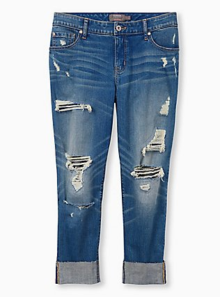 Crop Boyfriend Jean - Vintage Stretch Medium Wash, BACKSEAT BINGO, flat