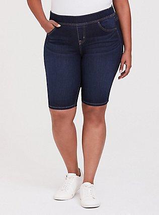 Plus Size Lean Jean Bermuda Short - Vintage Stretch Dark Wash, CANARY WHARF, hi-res