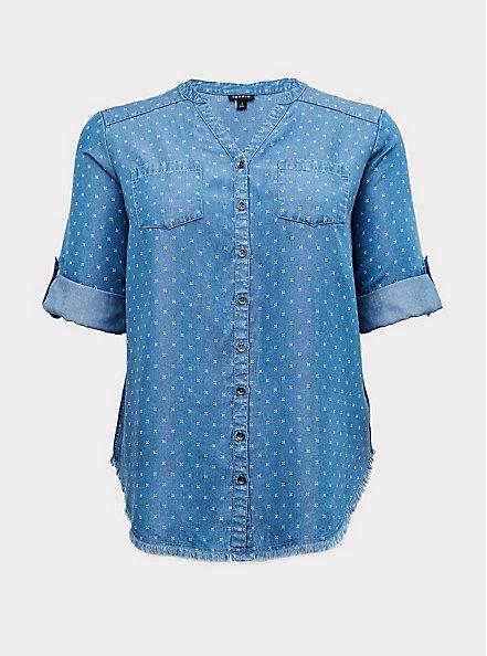 Plus Size Denim Button-Front Raw Hem Tunic Shirt, MEDIUM BLUE WASH, hi-res
