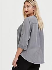 Light Grey Denim Button-Front Raw Hem Tunic Shirt, SMOKED PEARL, alternate