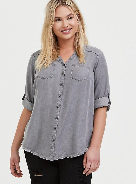 Light Grey Denim Button-Front Raw Hem Tunic Shirt, , hi-res