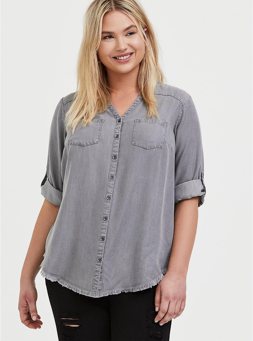 Light Grey Denim Button-Front Raw Hem Tunic Shirt, SMOKED PEARL, hi-res
