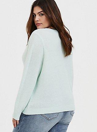 Mint Green V-Neck Midi Pullover Sweater , MOONLIGHT JADE, alternate