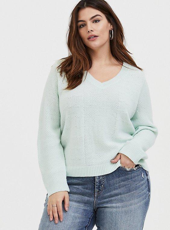 Mint Green V-Neck Midi Pullover Sweater , , hi-res
