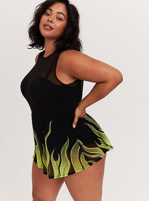 Plus Size Disney Sleeping Beauty Maleficent Underwire One-Piece Skater Swim Dress, , hi-res