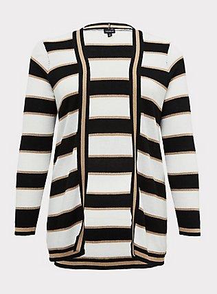 Plus Size Multi Shimmer Stripe Rib Open Front Cardigan, STRIPE - MULTICOLOR, flat