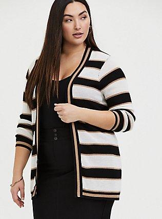 Plus Size Multi Shimmer Stripe Rib Open Front Cardigan, STRIPE - MULTICOLOR, hi-res