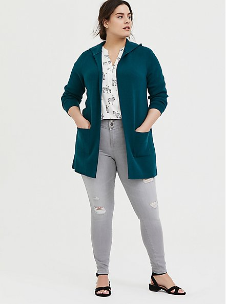 Plus Size Dark Teal Open Front Hooded Cardigan, DEEP TEAL, alternate