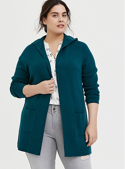 Plus Size Dark Teal Open Front Hooded Cardigan, DEEP TEAL, hi-res