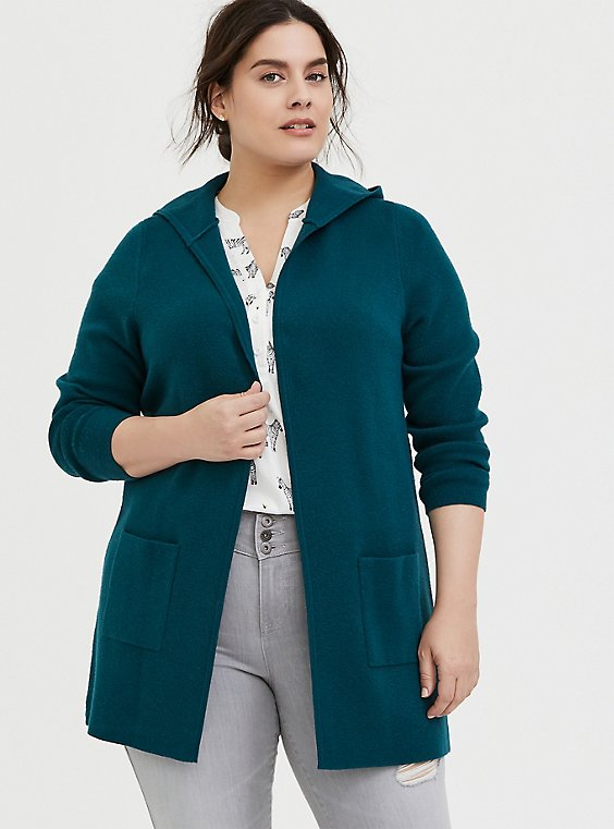 Plus Size Dark Teal Open Front Hooded Cardigan, , hi-res
