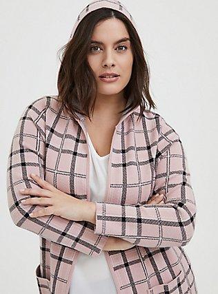 Blush Pink Plaid Open Front Hooded Cardigan, PLAID-BLUSH, alternate