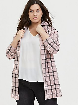 Blush Pink Plaid Open Front Hooded Cardigan, PLAID-BLUSH, hi-res