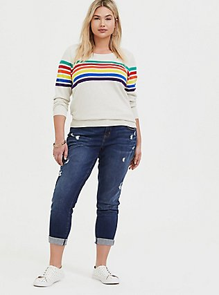 Plus Size Oatmeal Rainbow Stripe Cotton Cashmere Sweater, STRIPE-IVORY, alternate