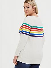 Celebrate Love Oatmeal Rainbow Stripe Pullover Sweater, STRIPE-IVORY, alternate