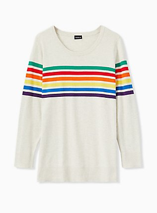 Plus Size Oatmeal Rainbow Stripe Cotton Cashmere Sweater, STRIPE-IVORY, flat
