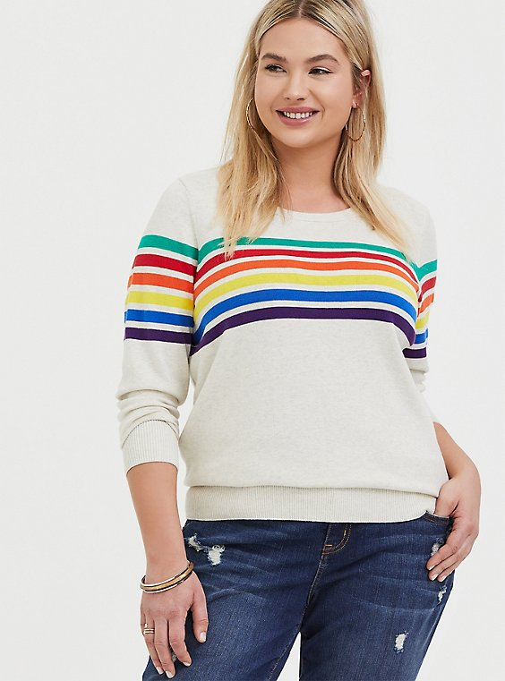 Oatmeal Rainbow Stripe Cotton Cashmere Sweater, , hi-res