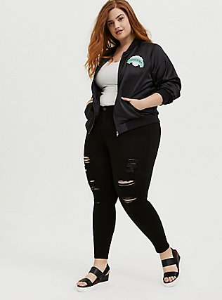 Her Universe Disney The Little Mermaid Ariel Black Satin Bomber Jacket, DEEP BLACK, alternate