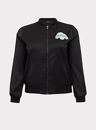 Her Universe Disney The Little Mermaid Ariel Black Satin Bomber Jacket, DEEP BLACK, flat