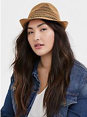 Dark Tan Braid Trim Fedora Hat, NATURAL, alternate