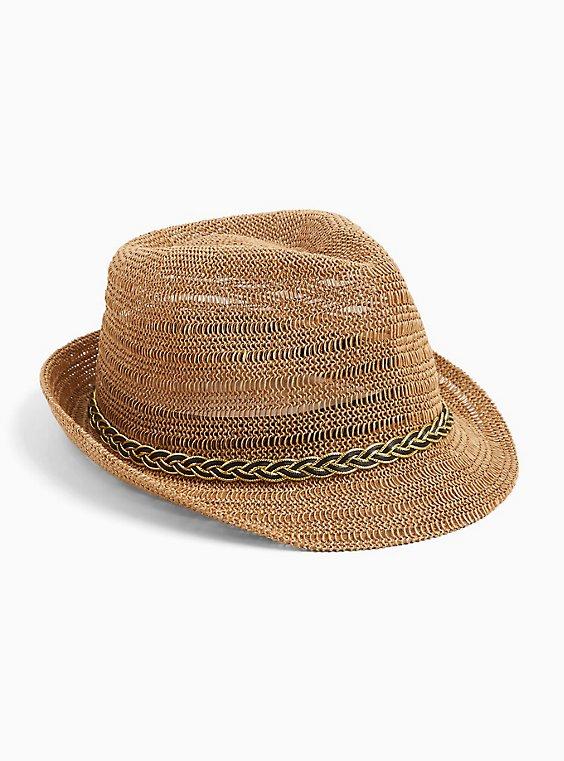 Dark Tan Braid Trim Fedora Hat, , hi-res