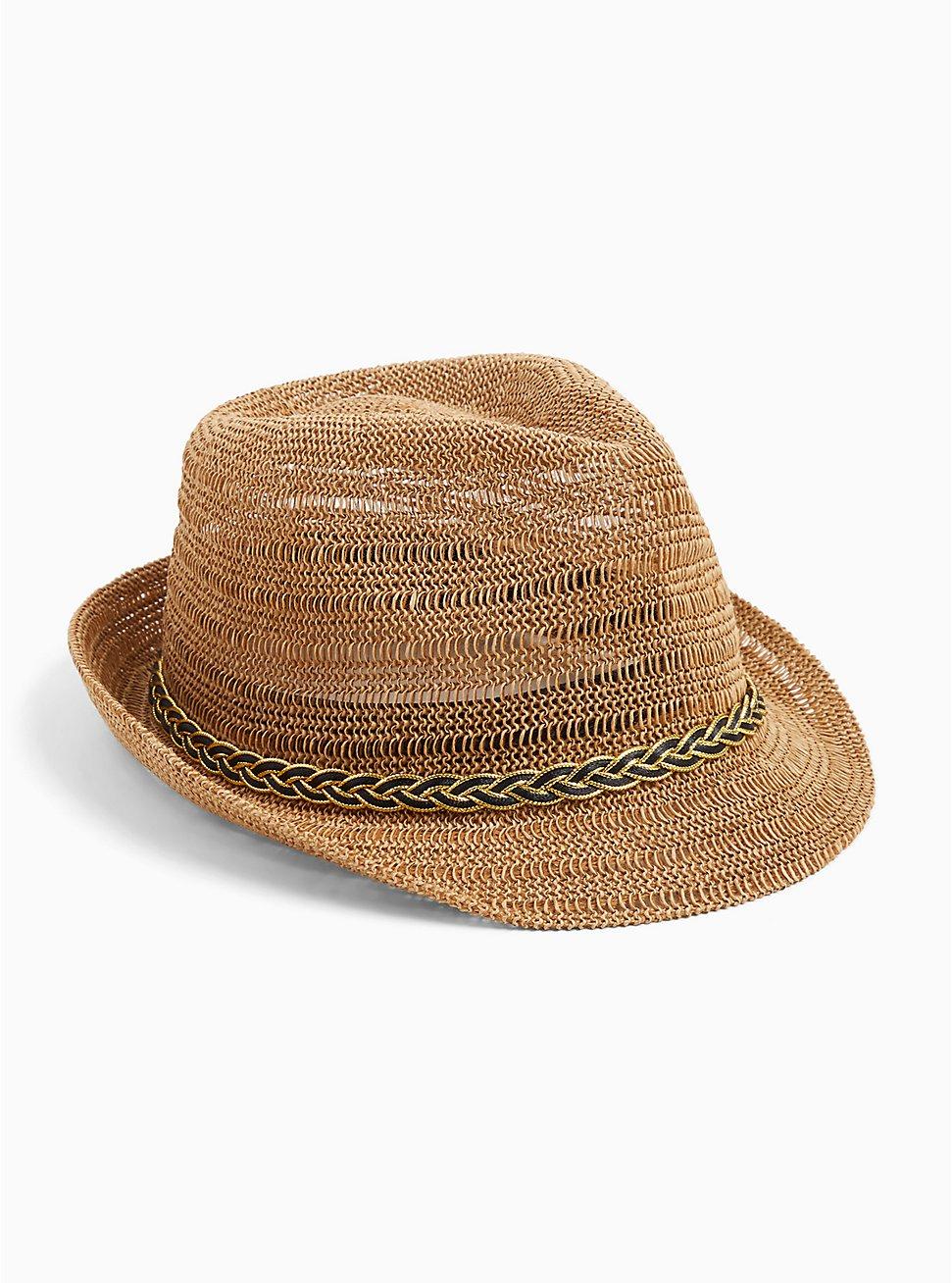 Dark Tan Braid Trim Fedora Hat, NATURAL, hi-res