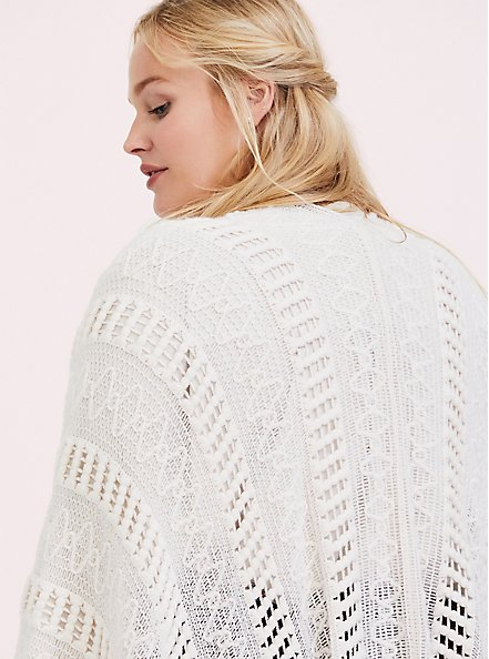 Ivory Open Knit Fringe Ruana, , alternate