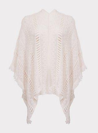 Plus Size Ivory Open Knit Fringe Ruana, , flat