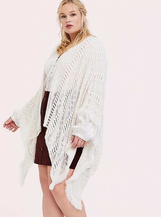 Plus Size Ivory Open Knit Fringe Ruana, , hi-res