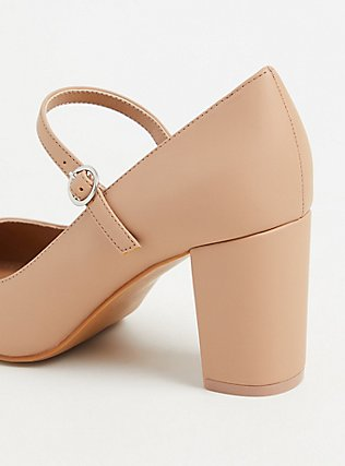 Nude Faux Leather Mary Jane Pump (WW), NUDE, alternate