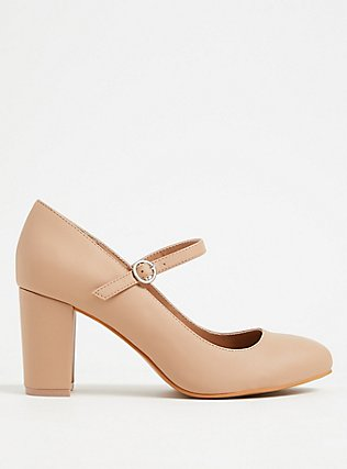 Nude Faux Leather Mary Jane Pump (WW), NUDE, hi-res