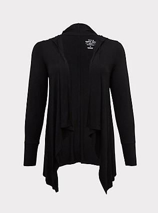Super Soft Black Drape Front Hooded Cardigan, DEEP BLACK, flat