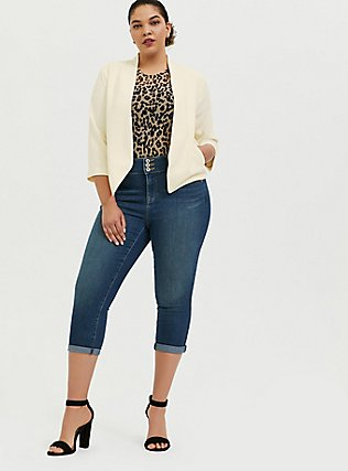 Ivory Crepe Cutaway Blazer, WHISPER WHITE, alternate
