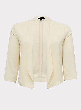 Ivory Crepe Cutaway Blazer, WHISPER WHITE, flat