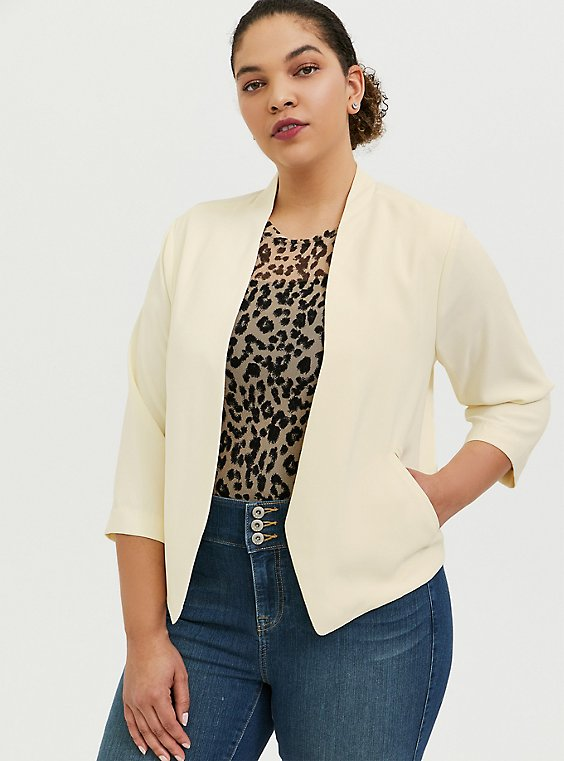 Cream Crepe Cutaway Blazer, WHISPER WHITE, hi-res