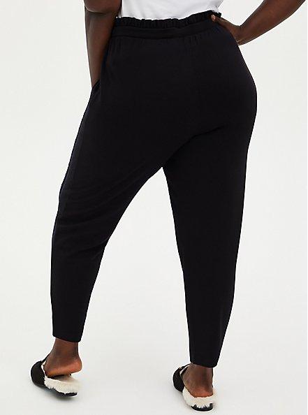 Black Ponte Drawstring Paperbag Pant, DEEP BLACK, alternate