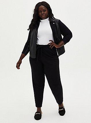 Plus Size Black Ponte Drawstring Paperbag Pant, DEEP BLACK, alternate