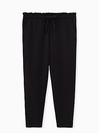 Plus Size Black Ponte Drawstring Paperbag Pant, DEEP BLACK, flat