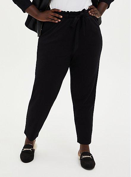Plus Size Black Ponte Drawstring Paperbag Pant, DEEP BLACK, hi-res