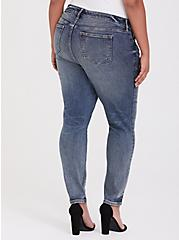 Mid Rise Skinny Jean- Vintage Stretch Dark Wash, CATCH MY DRIFT, alternate