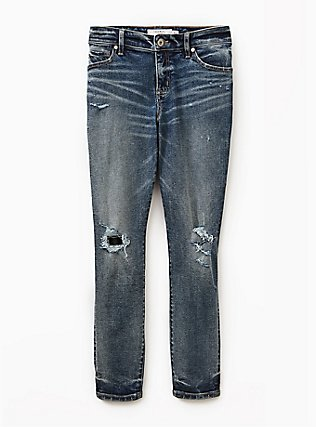 Mid Rise Skinny Jean- Vintage Stretch Dark Wash, CATCH MY DRIFT, flat