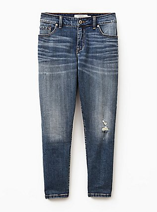 Plus Size Mid Rise Straight Jean - Vintage Stretch Medium Wash, DURANGO, flat