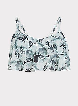 Plus Size Jurassic Park Sage Green Wireless Flounce Bikini Top, MULTI, flat