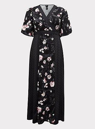 Disney Mulan Black Floral Surplice Maxi Dress, BLACK FLORAL, flat