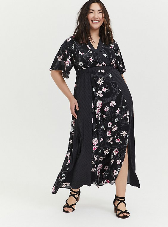 Disney Mulan Black Floral Surplice Maxi Dress, , hi-res